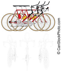 Three Bikes In The Line Race Vector