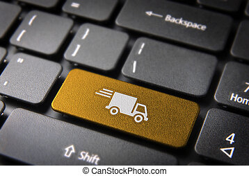 Yellow delivery keyboard key cargo business background -...