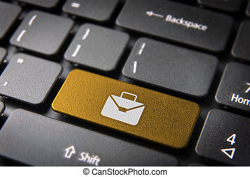 Yellow keyboard key portfolio, business background -...