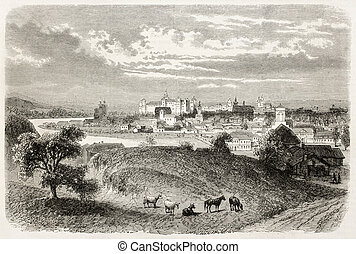 Kracow old view, Poland. Created by Blanchard, published on...