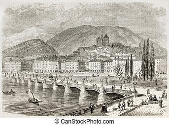 Mont-Blanc bridge old view, Geneva, Switzerland. Created by...