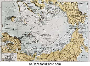 Arctic - Actic old map. By Paul Vidal de Lablache, Atlas...