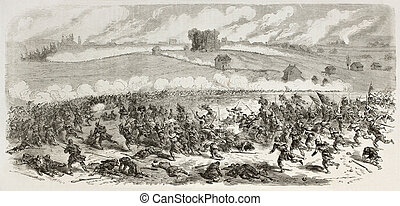 Battle of Fredericksburg old illustration (Confederate Army...