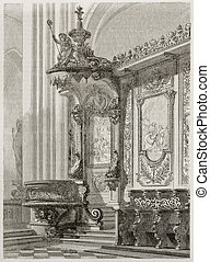 Notre-Dame choir old illustration, Paris (Episcopal bench)....