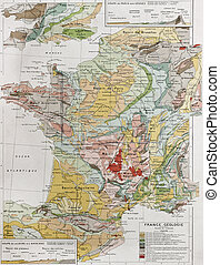 France geology - France geological map By Paul Vidal de...
