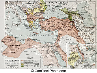 Ottoman Empire historical development old map between 1792...