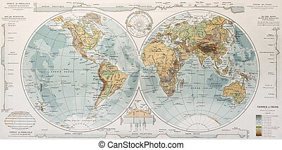World map. By Paul Vidal de Lablache, Atlas Classique,...
