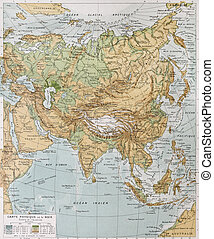 Asia physical map By Paul Vidal de Lablache, Atlas...