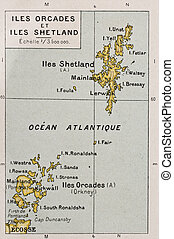 Orkney and Shetland islands old map. By Paul Vidal de...