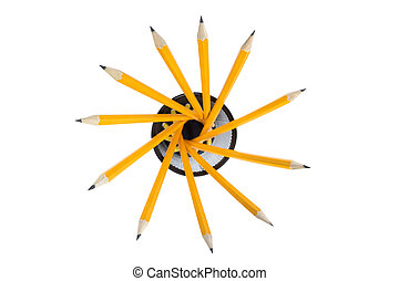 office supply - group of sharp pencils isolated on white...