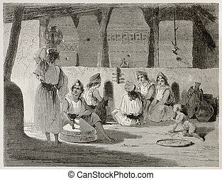 Algerian women in home interior old illustration. Created by...