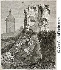 Collapsed tower