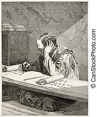 Scribe - Japanese scribe old engraved portrait. Created by...