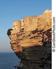 Bonifacio at sunrise, Corsica, France - Bonifacio limestone...