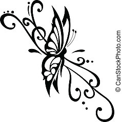 floral ornament with butterfly