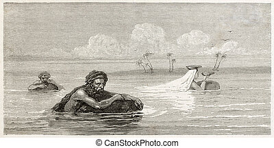 Floating - Babylonian people using life-preservers to float...
