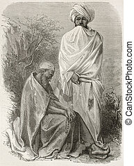 Abyssinian monks - Two Abyssinian monks old engraved...