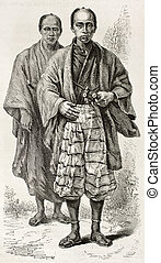 Daimyo old engraved portrait Japanese territorial lord...