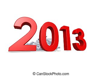 New Year Celebration 2013 - Rendered artwork with white...
