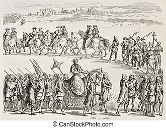 Lateran procession old illustration, Rome. Created by Crepon...