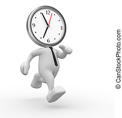 Clock - 3d people - man, person running out of time. A clock