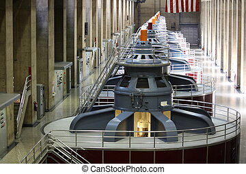 Huge turbines in a row inside of Hoover Dam Wide Angle