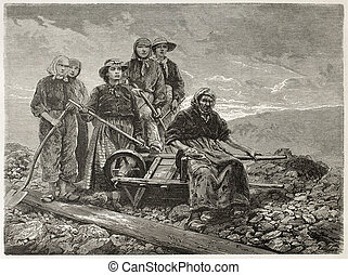 Coal sorters women old engraved portrait (Le Creusot,...