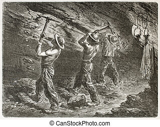 Coal miners at work. Created by Mesnel, published on Le Tour...