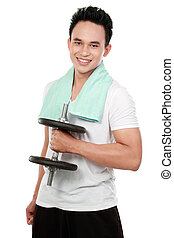 healthy sports man with dumbbell smiling