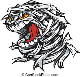 Cartoon Vector Image of a Scary Screaming Halloween Monster...