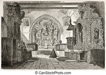 Quito cathedral interior old illustration, Ecuador. Created...