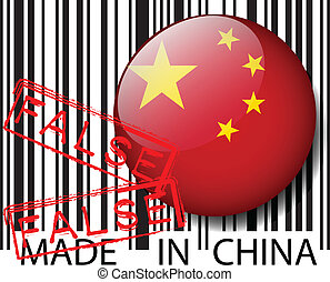 Made in China barcode - FALSE Vector illustration