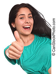 beautiful woman with finger raised in approval