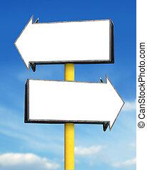blank arrow sign board - blank white arrow sign board in...
