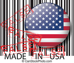Made in USA barcode - FALSE. Vector illustration