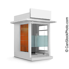 single ATM booth - ATM booth or glass construction building...