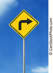turn right road sign - turn right yellow road sign on sky...