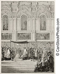Bringing Eucharist - Pope Pious IX bringing Eucharist to...