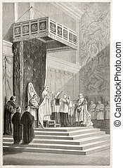 Pope officiating at mass in Sistine Chapel Pious IX Created...