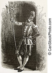 Swiss guard in Vatican city old engraved portrait. Created...