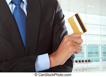 payment method - cropped image of hands with credit card