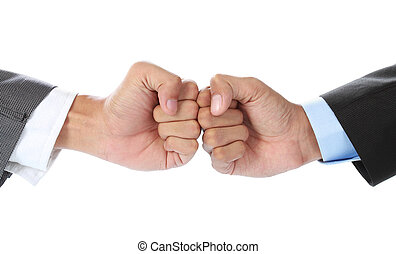 business competition - The businessman's hand hit each other...