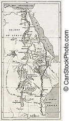 Nile basin old map. By unidentified author, published on Le...