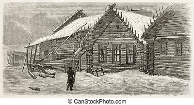 Izba old illustration (traditional Russian house). Created...