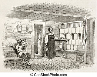 Izba interior old illustration (traditional Russian house)....
