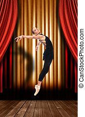ballet, bailarín, etapa, con, Cortinas