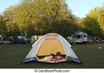 Sisters Inside a Tent Smiling - Family at a Campground...