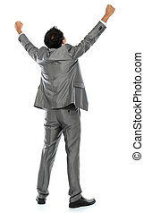 business man with arms raised - Excited business man with...