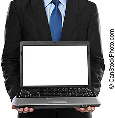 business man presenting blank laptop - Close-up of business...