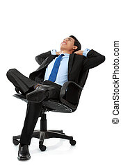 business man sitting and relaxing on chair